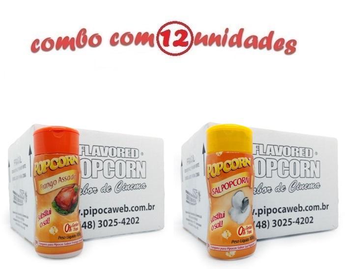 TEMPEROS P/ PIPOCA - CAIXA 12 FRASCOS - 6 FRANGO ASSADO - 6 SAL POPCORN
