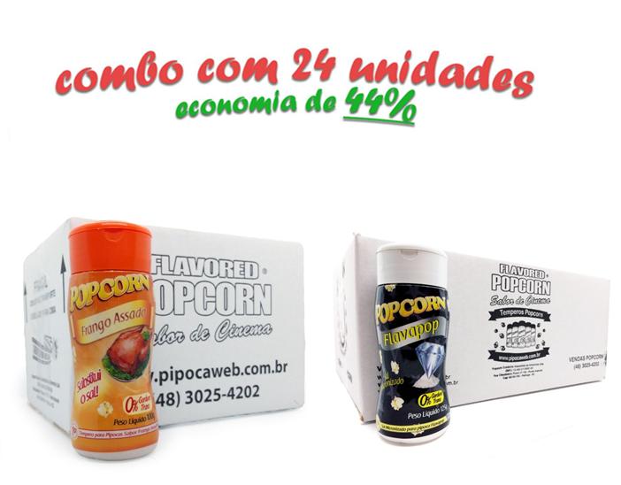 TEMPEROS P/ PIPOCA - CAIXA 24 FRASCOS - 12 FRANGO ASSADO - 12 FLAVAPOP MANTEIGA