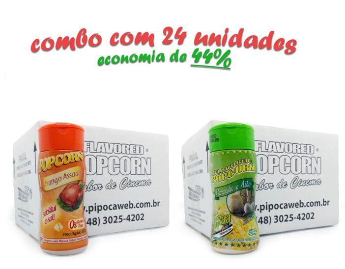 TEMPEROS P/ PIPOCA - CAIXA 24 FRASCOS - 12 FRANGO ASSADO - 12 PARMESÃO E ALHO