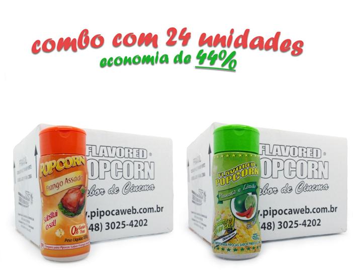 TEMPEROS P/ PIPOCA - CAIXA 24 FRASCOS - 12 FRANGO ASSADO - 12 PIMENTA E LIMÃO