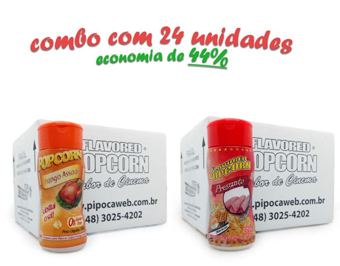 TEMPEROS P/ PIPOCA - CAIXA 24 FRASCOS - 12 FRANGO ASSADO - 12 PRESUNTO