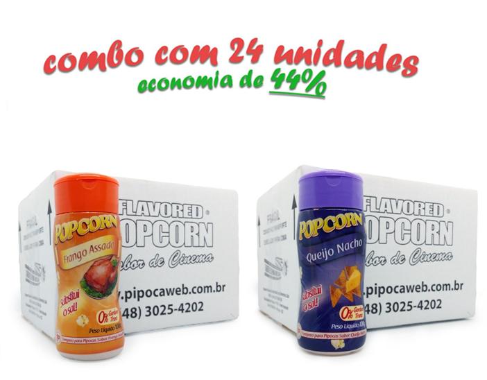 TEMPEROS P/ PIPOCA - CAIXA 24 FRASCOS - 12 FRANGO ASSADO - 12 QUEIJO NACHO