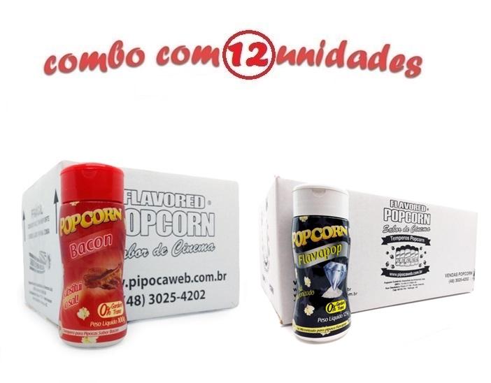 TEMPEROS P/ PIPOCA - Cx 12 FRASCOS - 06 BACON - 06 FLAVAPOP MANTEIGA