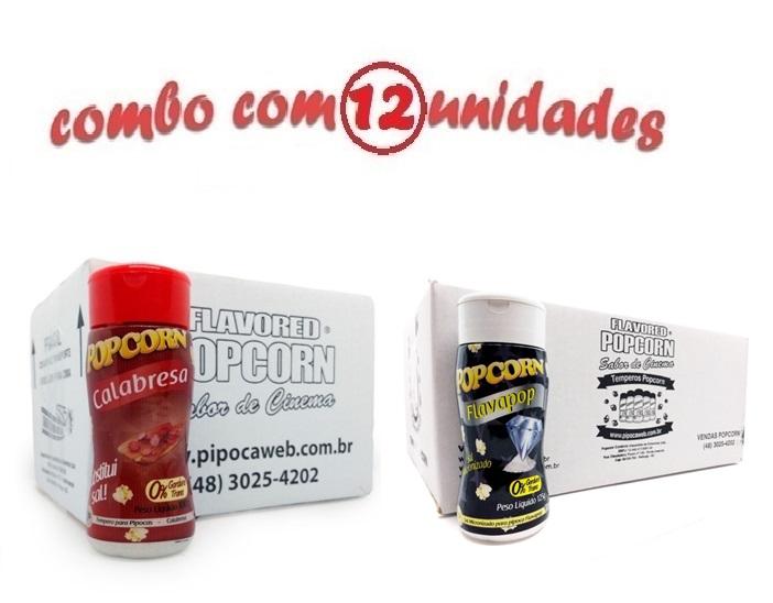 TEMPEROS P/ PIPOCA - Cx 12 FRASCOS - 06 CALABRESA - 06 FLAVAPOP MANTEIGA