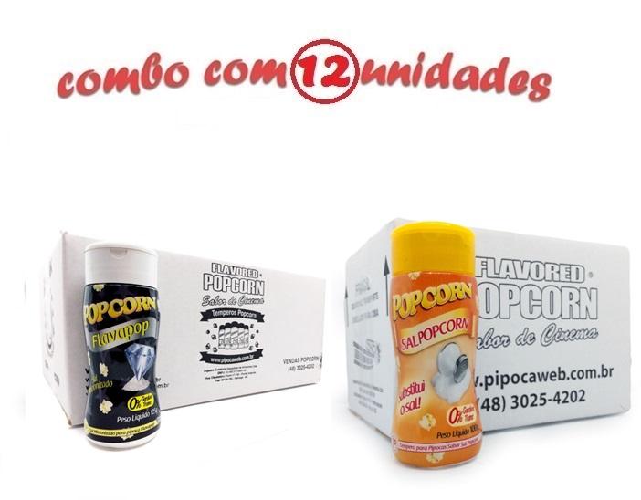 TEMPEROS P/ PIPOCA - Cx 12 FRASCOS - 06 FLAVAPOP MANTEIGA - 06 SAL ORIGINAL POPCORN
