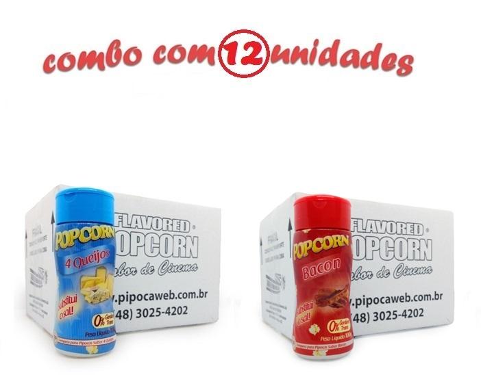 TEMPEROS P/ PIPOCA - Cx 12 FRASCOS - 06 QUATRO QUEIJOS - 06 BACON