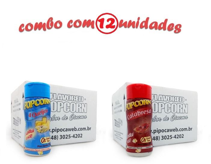 TEMPEROS P/ PIPOCA - Cx 12 FRASCOS - 6 4 QUEIJOS - 6 CALABRESA