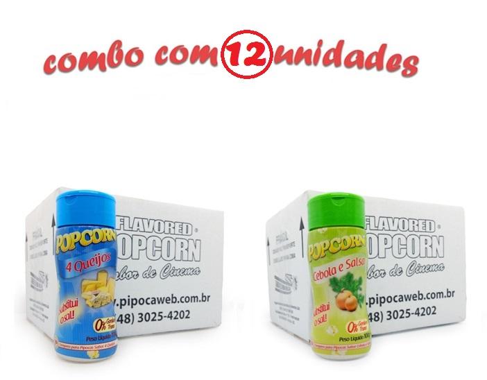TEMPEROS P/ PIPOCA - Cx 12 FRASCOS - 6 4 QUEIJOS - 6 CEBOLA E SALSA