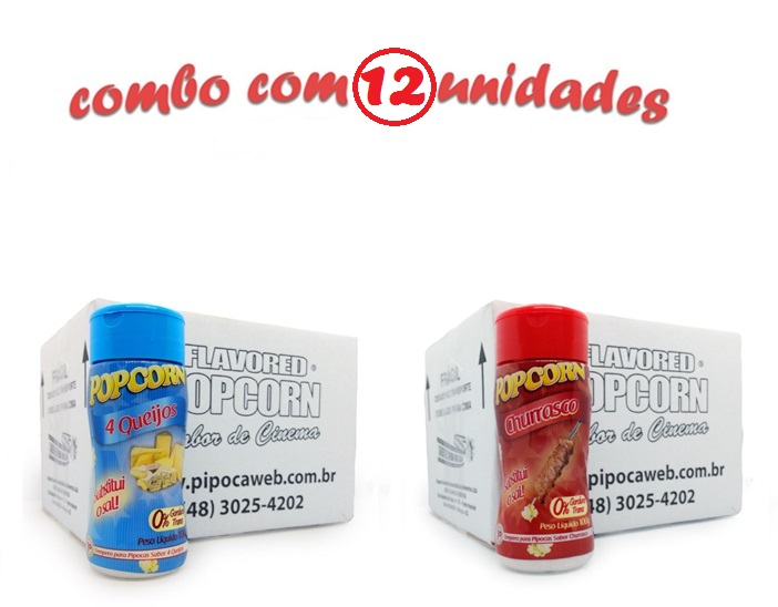 TEMPEROS P/ PIPOCA - Cx 12 FRASCOS - 6 4 QUEIJOS - 6 CHURRASCO