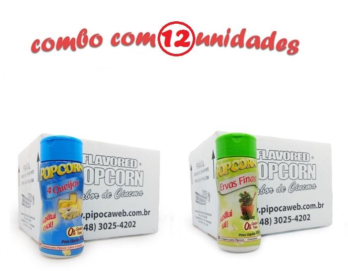 TEMPEROS P/ PIPOCA - Cx 12 FRASCOS - 6 4 QUEIJOS - 6 ERVAS FINAS