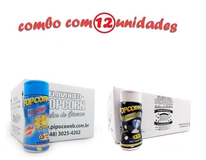 TEMPEROS P/ PIPOCA - Cx 12 FRASCOS - 06 QUATRO QUEIJOS - 06 FLAVAPOP MANTEIGA