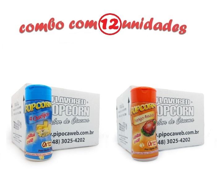 TEMPEROS P/ PIPOCA - Cx 12 FRASCOS - 6 4 QUEIJOS - 6 FRANGO ASSADO