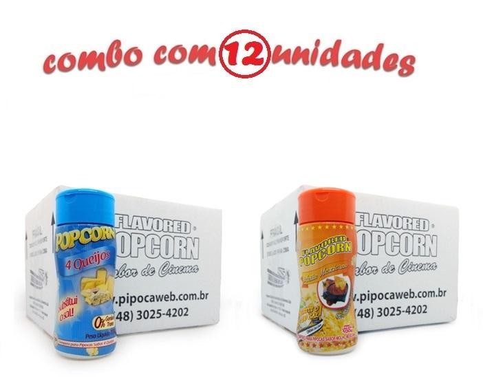 TEMPEROS P/ PIPOCA - Cx 12 FRASCOS - 6 4 QUEIJOS - 6 MOLHO MEXICANO