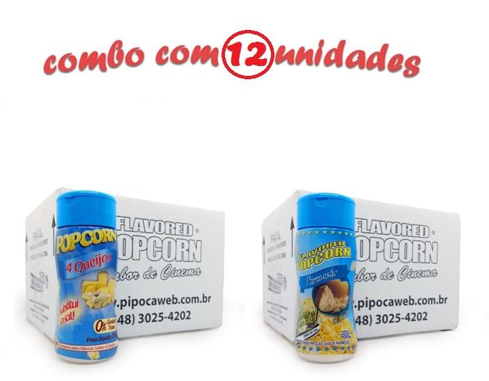TEMPEROS P/ PIPOCA - Cx 12 FRASCOS - 6 4 QUEIJOS - 6 PARMESÃO