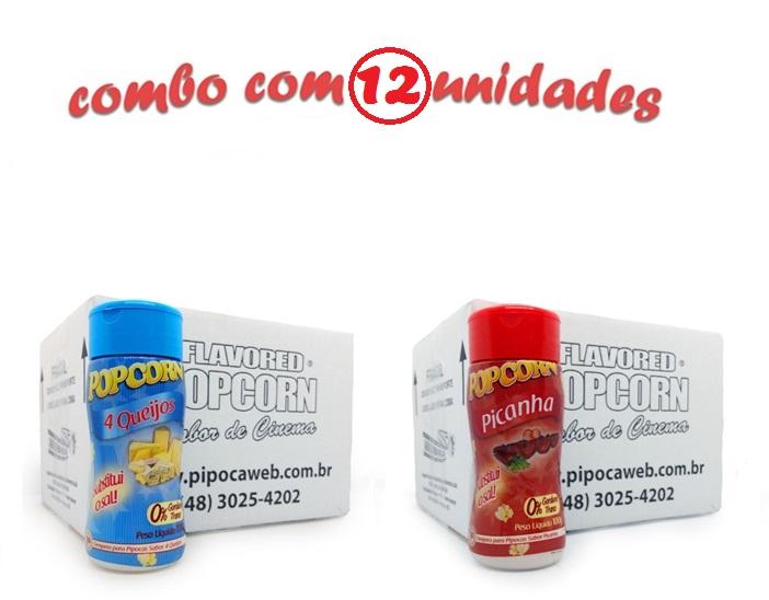 TEMPEROS P/ PIPOCA - Cx 12 FRASCOS - 6 4 QUEIJOS - 6 PICANHA