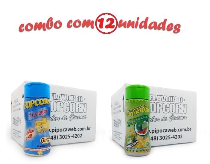 TEMPEROS P/ PIPOCA - Cx 12 FRASCOS - 6 4 QUEIJOS - 6 PIMENTA E LIMÃO