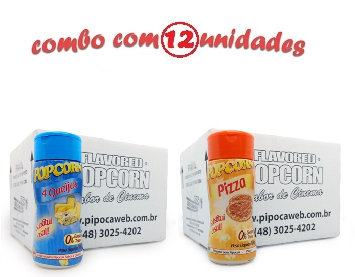 TEMPEROS P/ PIPOCA - Cx 12 FRASCOS - 6 4 QUEIJOS - 6 PIZZA