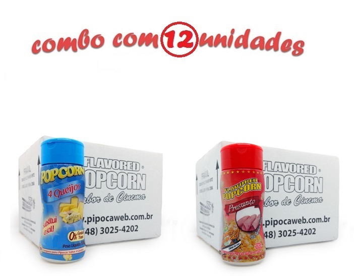 TEMPEROS P/ PIPOCA - Cx 12 FRASCOS - 6 4 QUEIJOS - 6 PRESUNTO