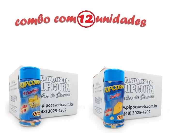 TEMPEROS P/ PIPOCA - Cx 12 FRASCOS - 6 4 QUEIJOS - 6 QUEIJO
