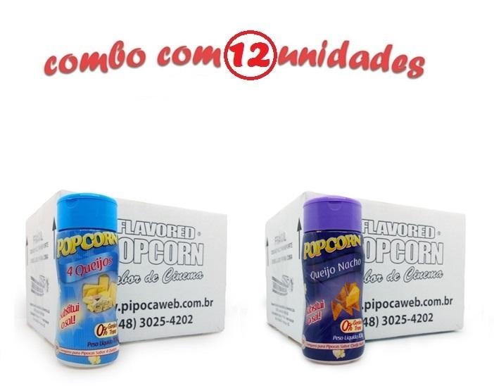 TEMPEROS P/ PIPOCA - Cx 12 FRASCOS - 6 4 QUEIJOS - 6 QUEIJO NACHO