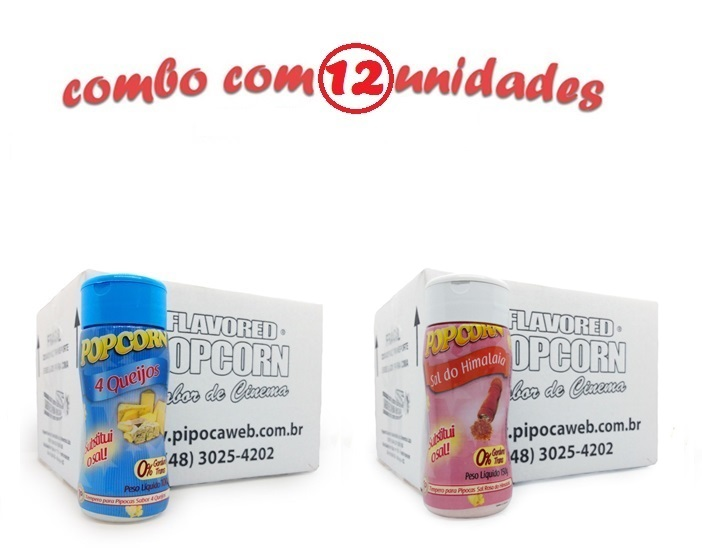 TEMPEROS P/ PIPOCA - Cx 12 FRASCOS - 6 4 QUEIJOS - 6 SAL DO HIMALAIA