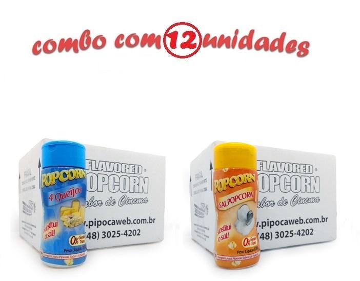 TEMPEROS P/ PIPOCA - Cx 12 FRASCOS - 6 4 QUEIJOS - 6 SAL POPCORN