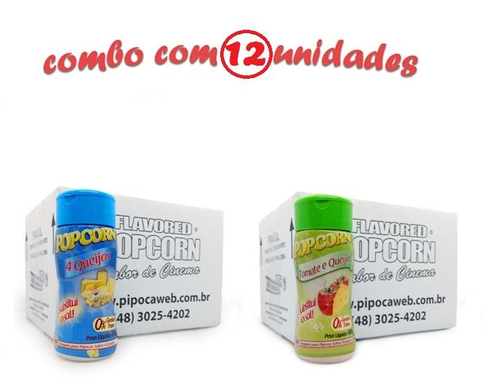 TEMPEROS P/ PIPOCA - Cx 12 FRASCOS - 6 4 QUEIJOS - 6 TOMATE E QUEIJO
