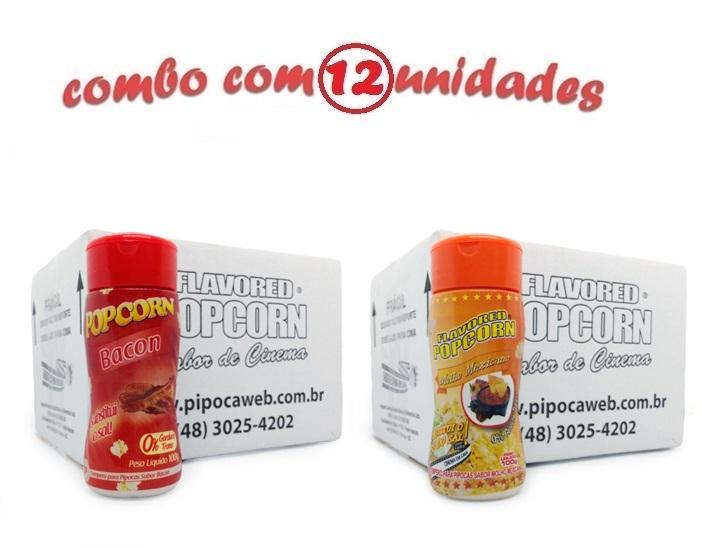 TEMPEROS P/ PIPOCA - Cx 12 FRASCOS - 6 BACON - 6 MOLHO MEXICANO