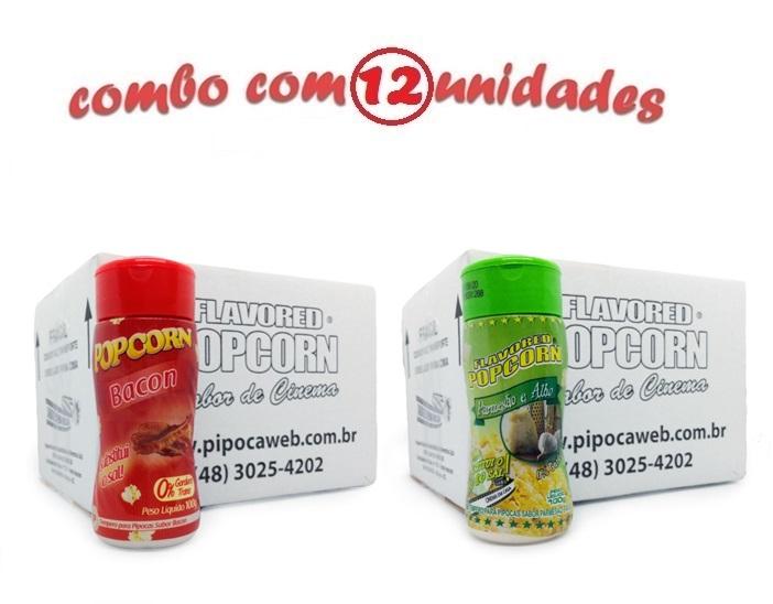 TEMPEROS P/ PIPOCA - Cx 12 FRASCOS - 6 BACON - 6 PARMESÃO E ALHO