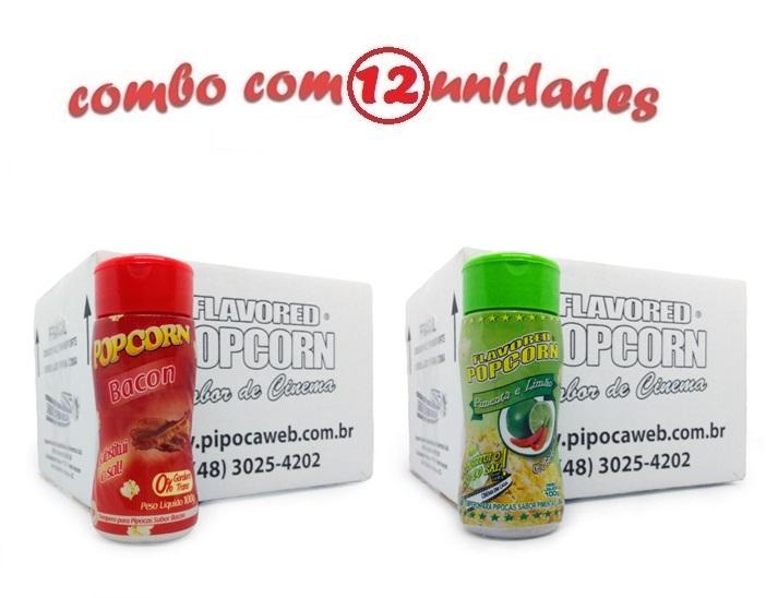 TEMPEROS P/ PIPOCA - Cx 12 FRASCOS - 6 BACON - 6 PIMENTA E LIMÃO