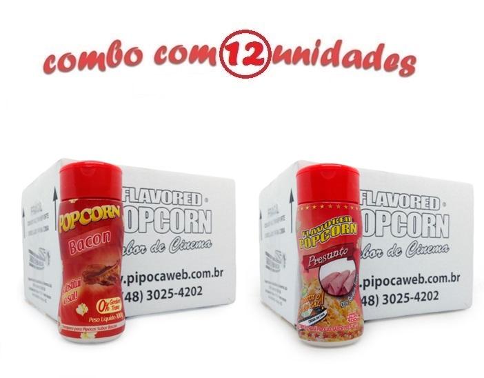 TEMPEROS P/ PIPOCA - Cx 12 FRASCOS - 6 BACON - 6 PRESUNTO