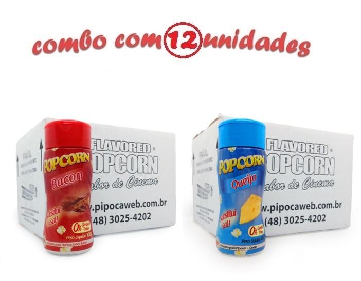 TEMPEROS P/ PIPOCA - Cx 12 FRASCOS - 6 BACON - 6 QUEIJO