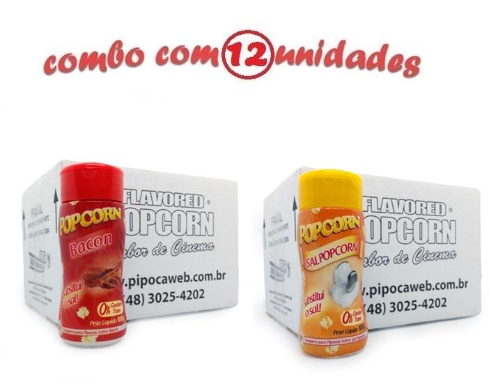 TEMPEROS P/ PIPOCA - Cx 12 FRASCOS - 6 BACON - 6 SAL POPCORN