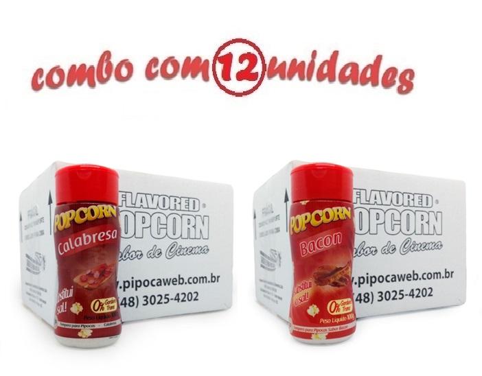 TEMPEROS P/ PIPOCA - Cx 12 FRASCOS - 6 CALABRESA - 6 BACON