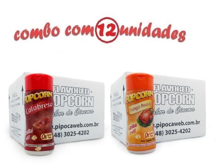 TEMPEROS P/ PIPOCA - Cx 12 FRASCOS - 6 CALABRESA - 6 FRANGO ASSADO