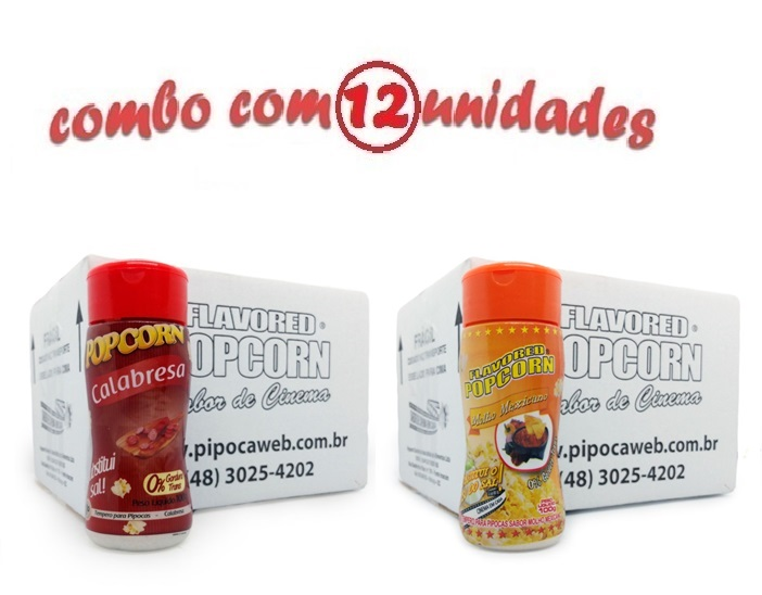 TEMPEROS P/ PIPOCA - Cx 12 FRASCOS - 6 CALABRESA - 6 MOLHO MEXICANO