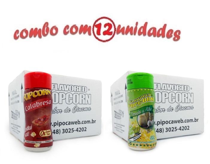 TEMPEROS P/ PIPOCA - Cx 12 FRASCOS - 6 CALABRESA - 6 PARMESÃO E ALHO