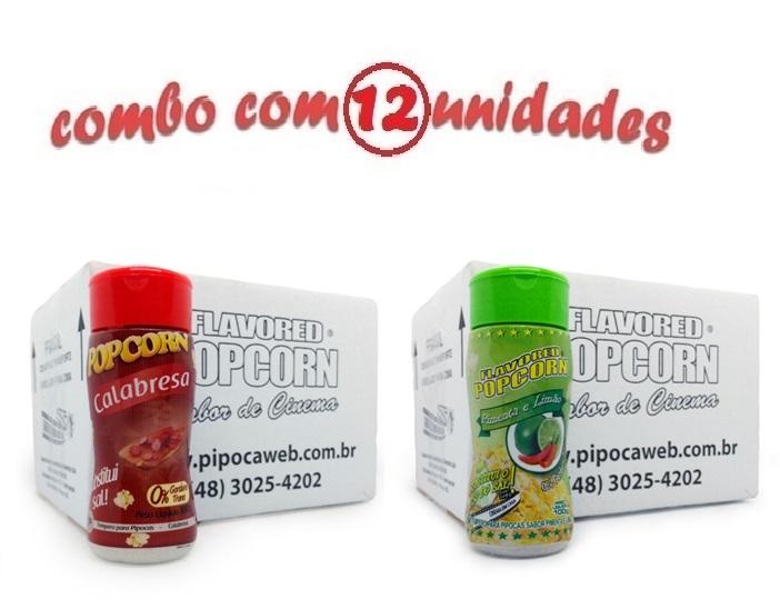 TEMPEROS P/ PIPOCA - Cx 12 FRASCOS - 6 CALABRESA - 6 PIMENTA E LIMÃO