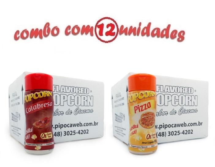 TEMPEROS P/ PIPOCA - Cx 12 FRASCOS - 6 CALABRESA - 6 PIZZA