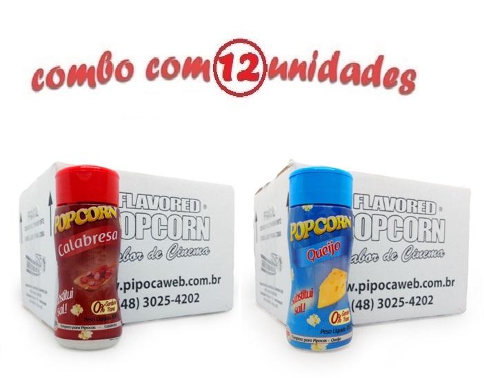 TEMPEROS P/ PIPOCA - Cx 12 FRASCOS - 6 CALABRESA - 6 QUEIJO