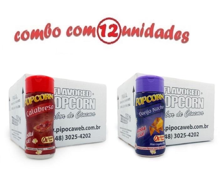 TEMPEROS P/ PIPOCA - Cx 12 FRASCOS - 6 CALABRESA - 6 QUEIJO NACHO
