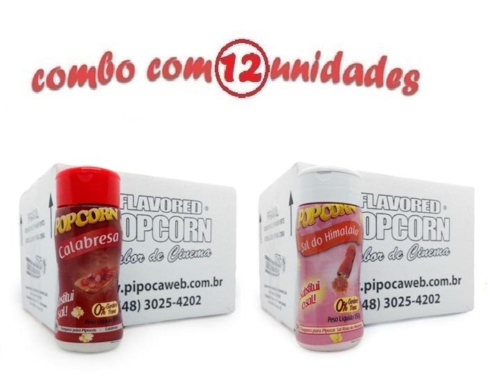TEMPEROS P/ PIPOCA - Cx 12 FRASCOS - 6 CALABRESA - 6 SAL DO HIMALAIA