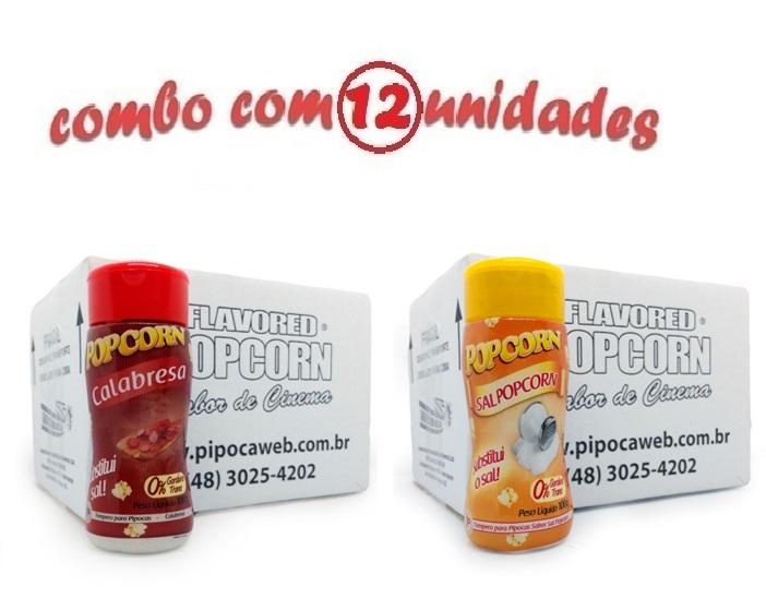 TEMPEROS P/ PIPOCA - Cx 12 FRASCOS - 6 CALABRESA - 6 SAL POPCORN