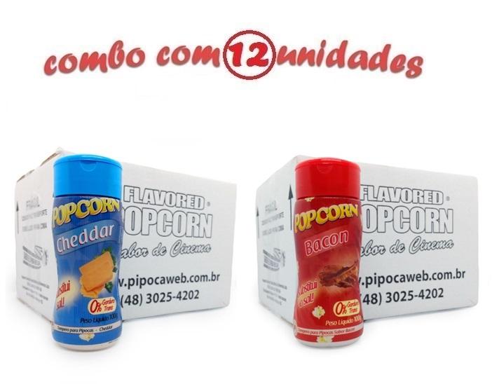 TEMPEROS P/ PIPOCA - Cx 12 FRASCOS - 6 CHEDDAR - 6 BACON