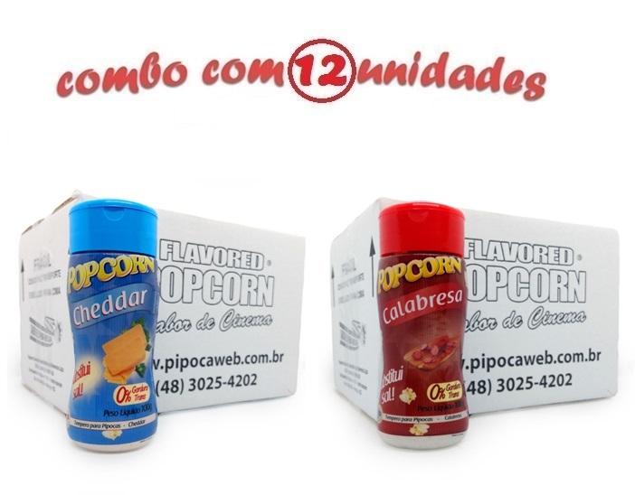 TEMPEROS P/ PIPOCA - Cx 12 FRASCOS - 6 CHEDDAR - 6 CALABRESA