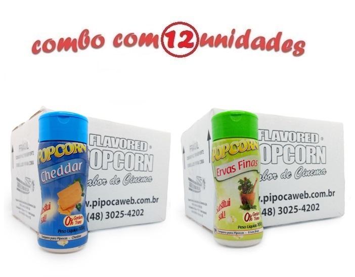 TEMPEROS P/ PIPOCA - Cx 12 FRASCOS - 6 CHEDDAR - 6 ERVAS FINAS
