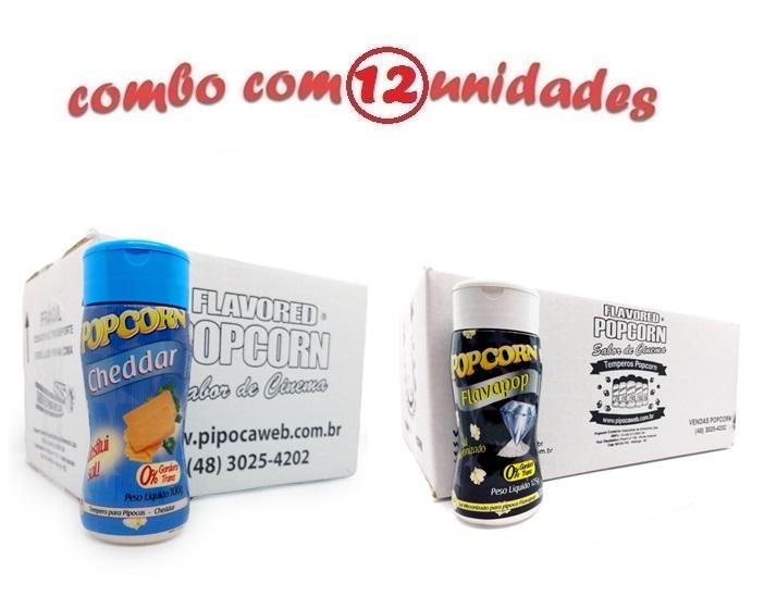 TEMPEROS P/ PIPOCA - Cx 12 FRASCOS - 6 CHEDDAR - 6 FLAVAPOP MANTEIGA