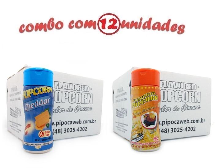 TEMPEROS P/ PIPOCA - Cx 12 FRASCOS - 6 CHEDDAR - 6 MOLHO MEXICANO