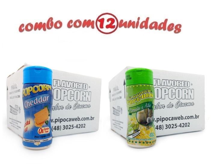 TEMPEROS P/ PIPOCA - Cx 12 FRASCOS - 6 CHEDDAR - 6 PARMESÃO E ALHO