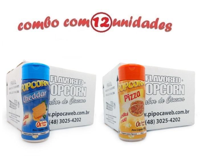 TEMPEROS P/ PIPOCA - Cx 12 FRASCOS - 6 CHEDDAR - 6 PIZZA